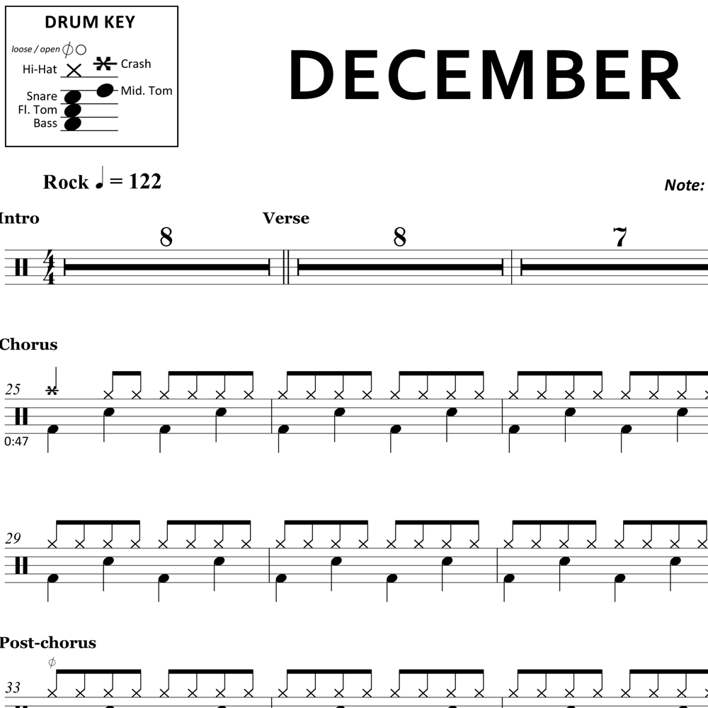 December - Collective Soul - Drum Sheet Music