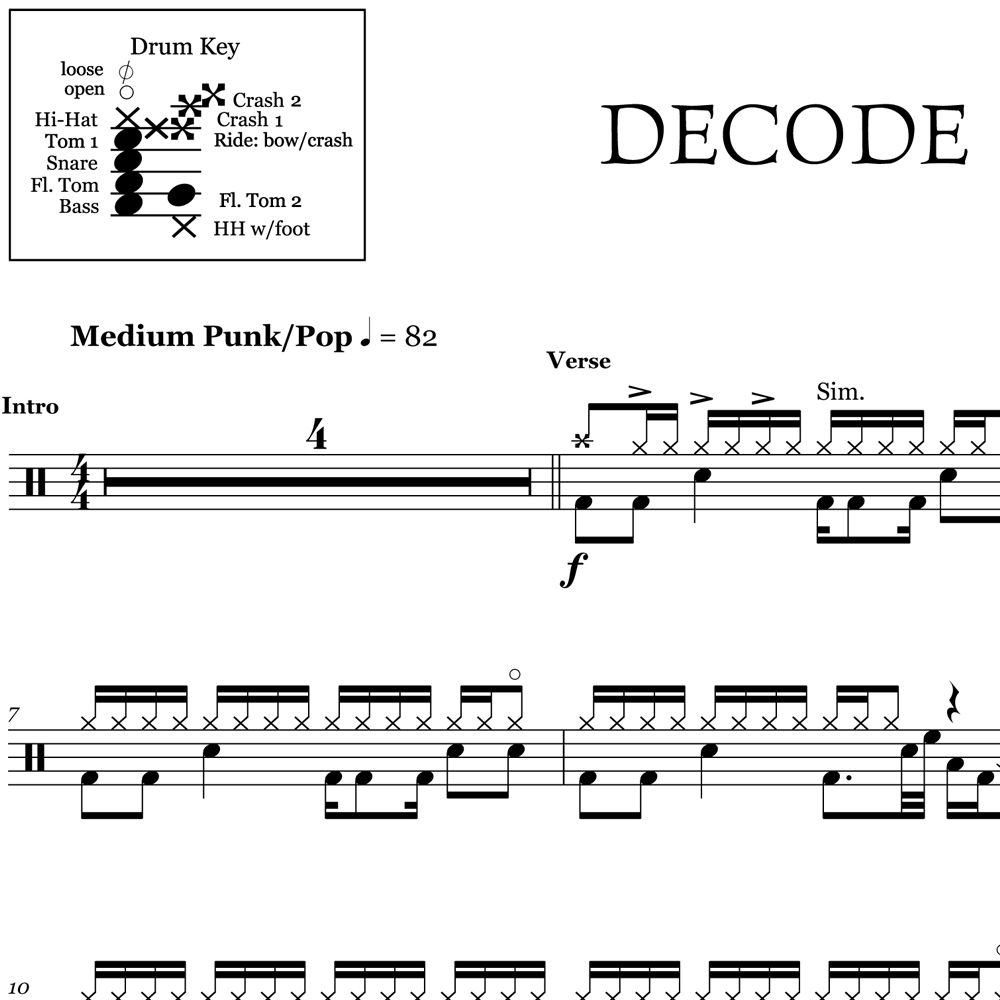 Decode - Paramore - Drum Sheet Music