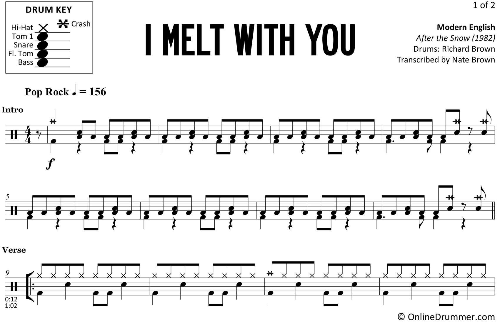 I Melt with You - Modern English - Drum Sheet Music