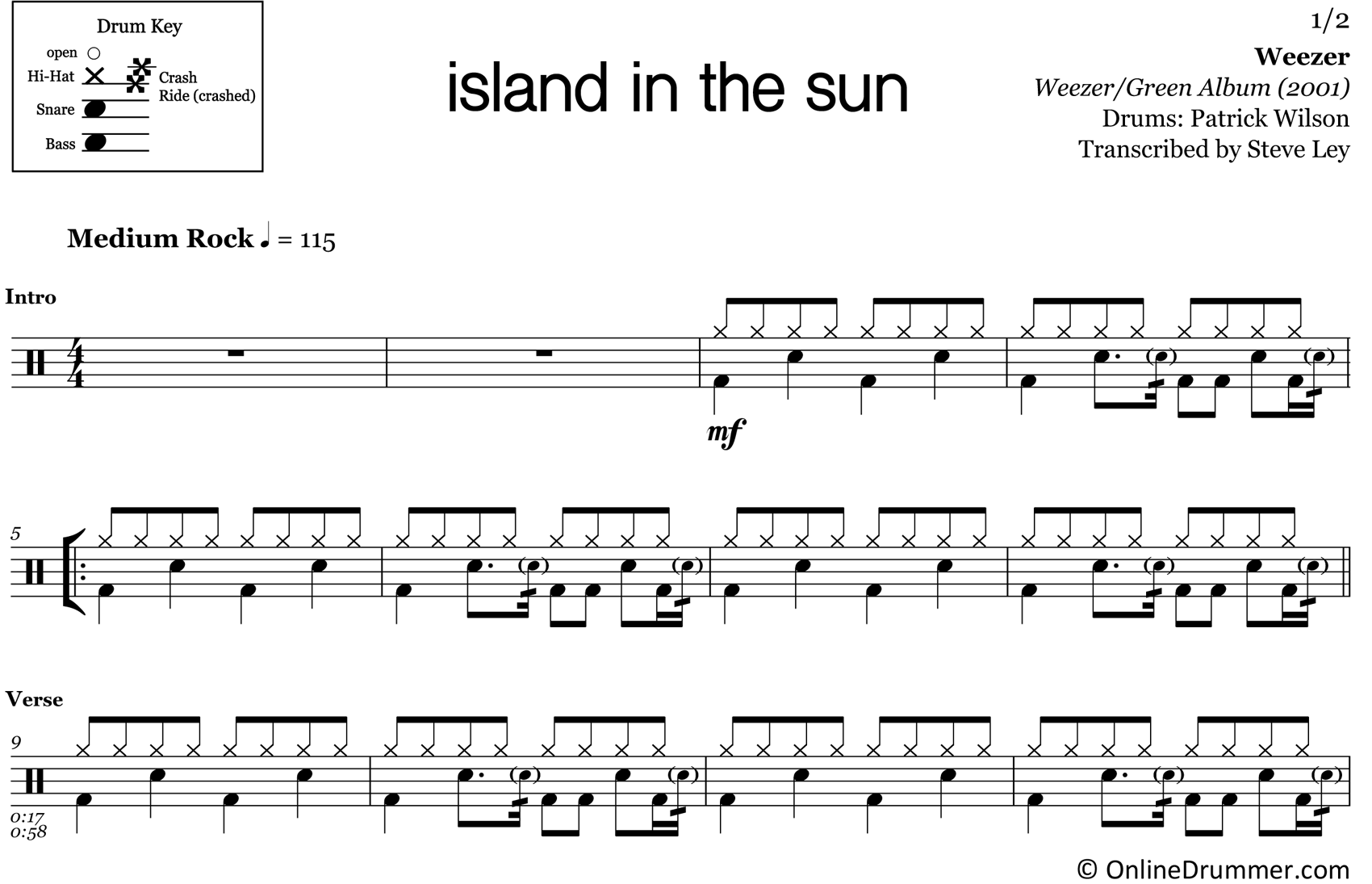 Island in the Sun - Weezer - Drum Sheet Music