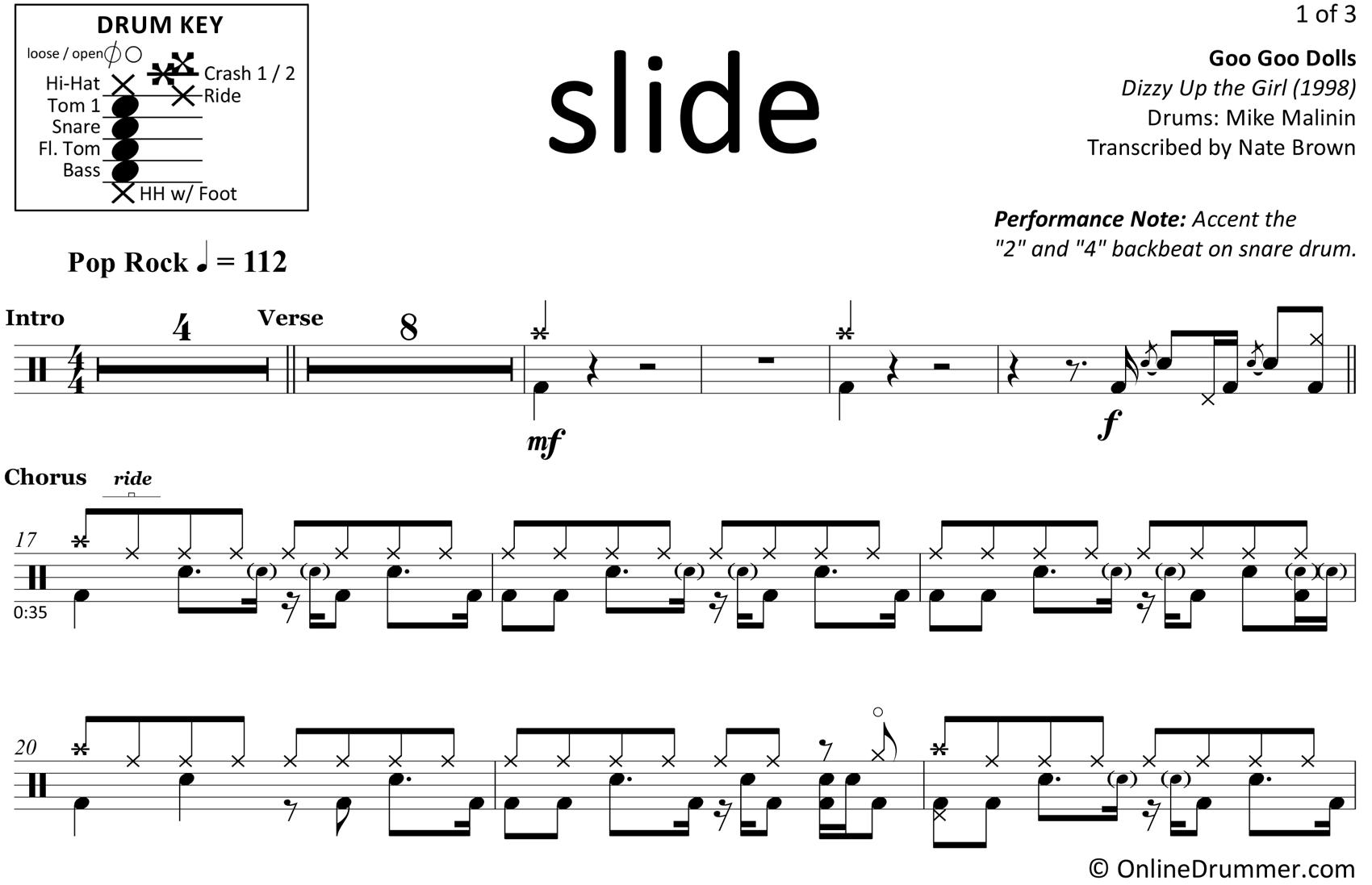 Slide - Goo Goo Dolls - Drum Sheet Music