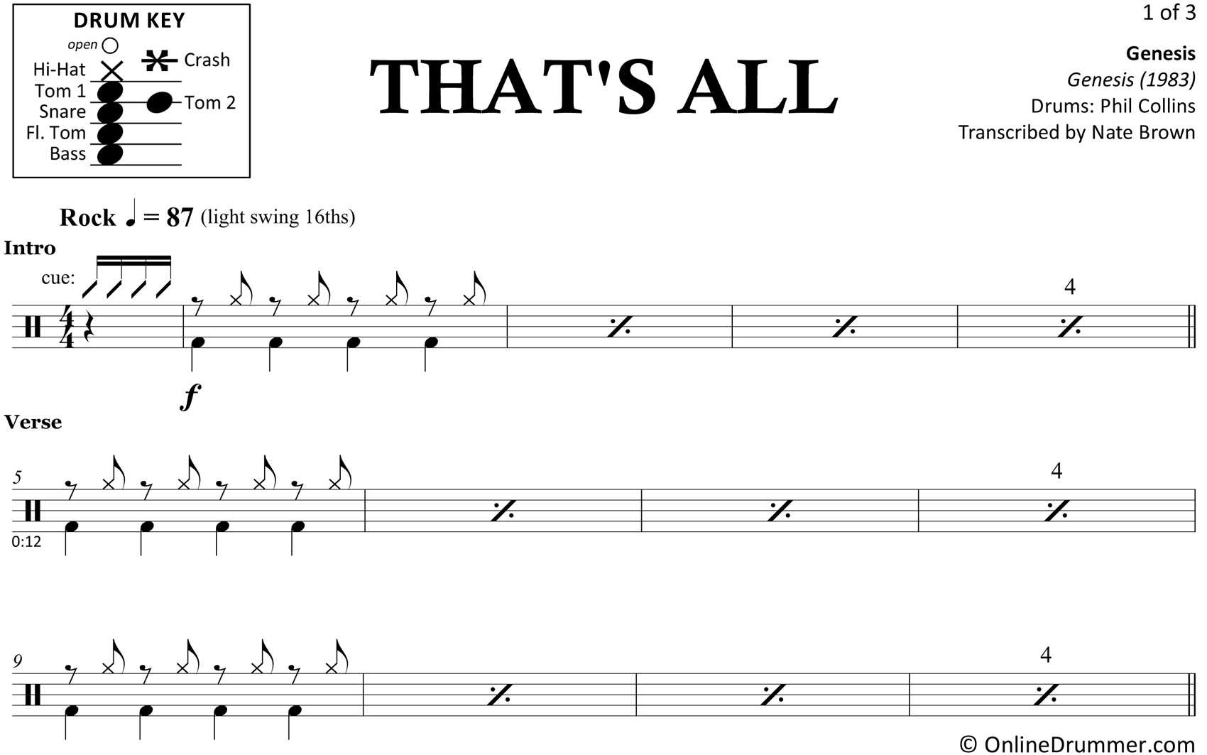 That's All - Genesis - Drum Sheet Music