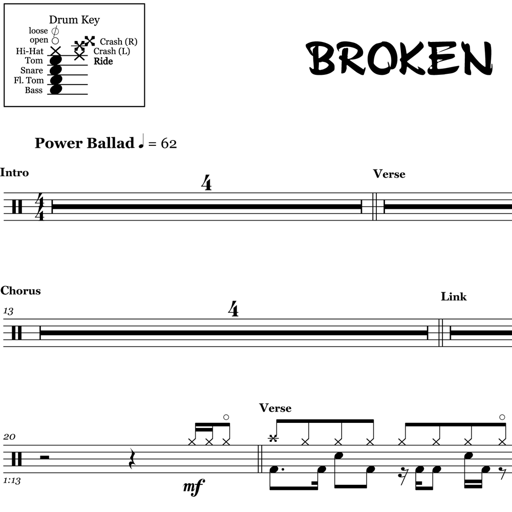 Broken - Seether ft. Amy Lee- Drum Sheet Music