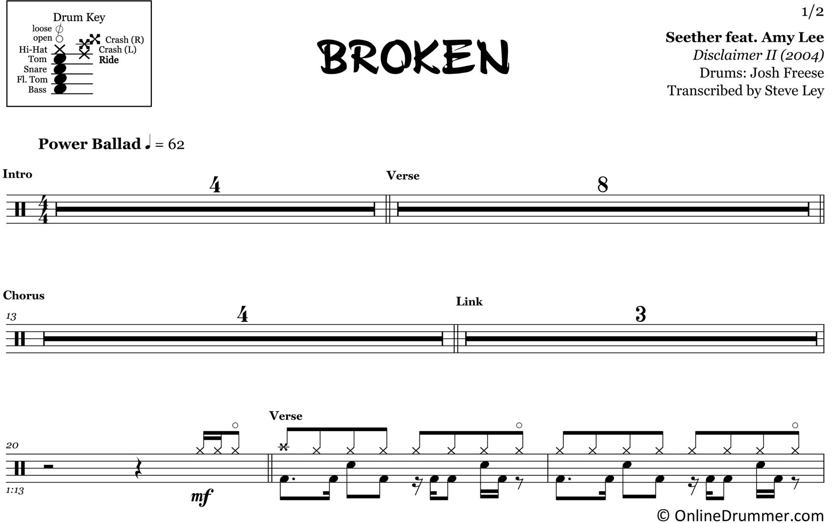 Broken - Seether - Drum Sheet Music