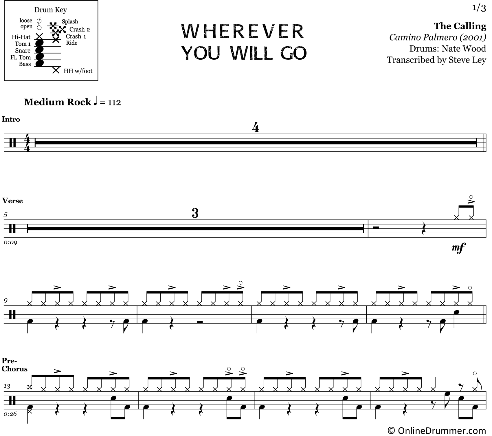 Wherever You Will Go - The Calling - Drum Sheet Music