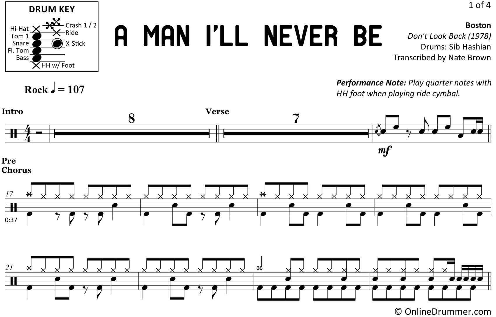 A Man I'll Never Be - Boston - Drum Sheet Music