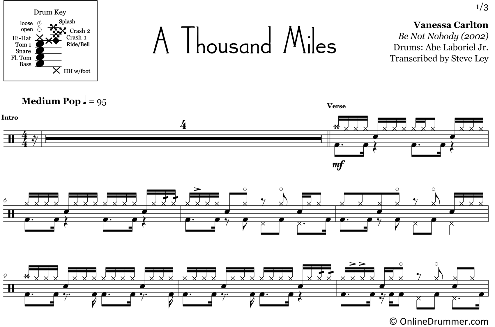 A Thousand Miles - Vanessa Carlton - Drum Sheet Music