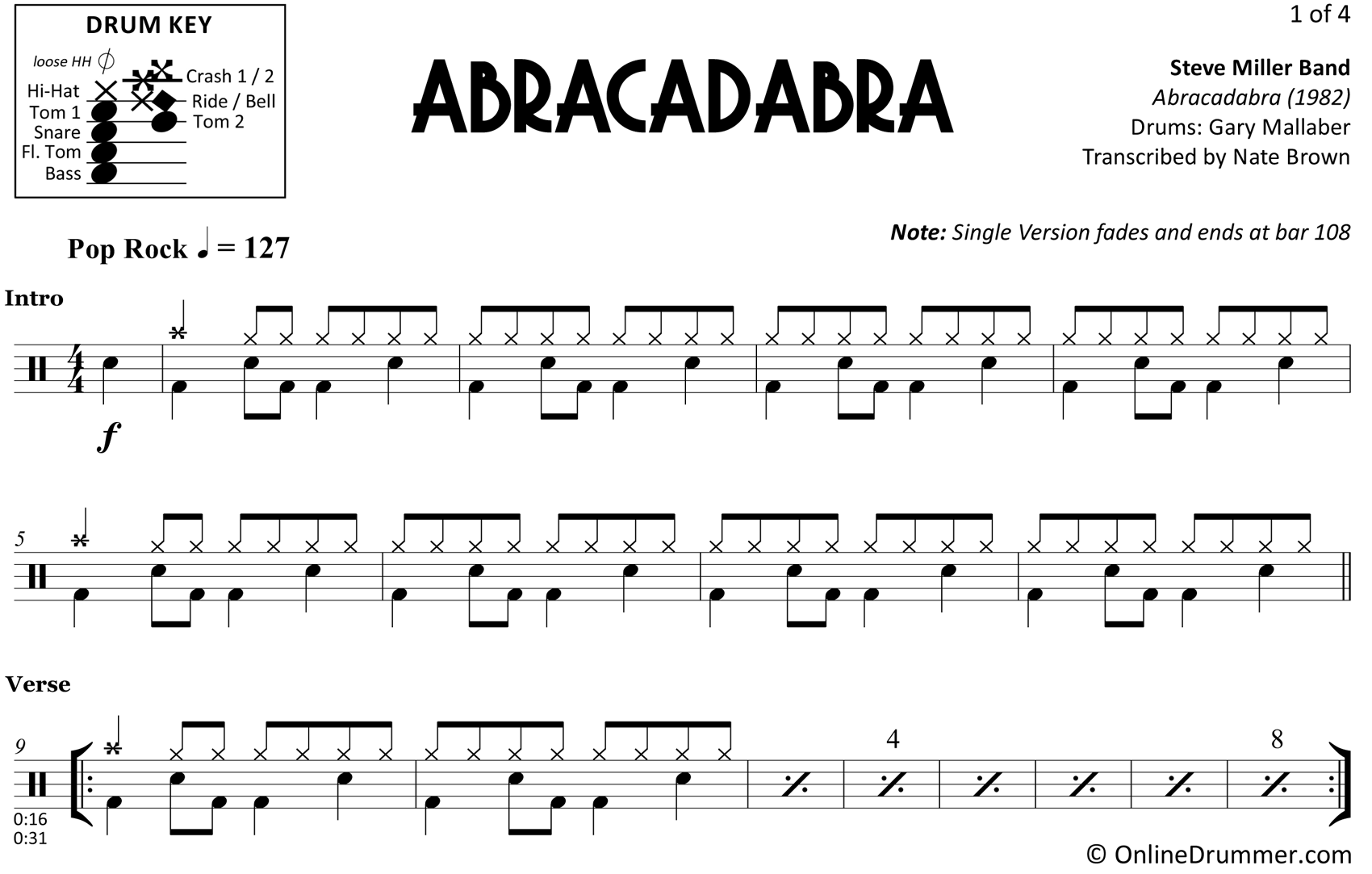 Abracadabra - Steve Miller Band - Drum Sheet Music