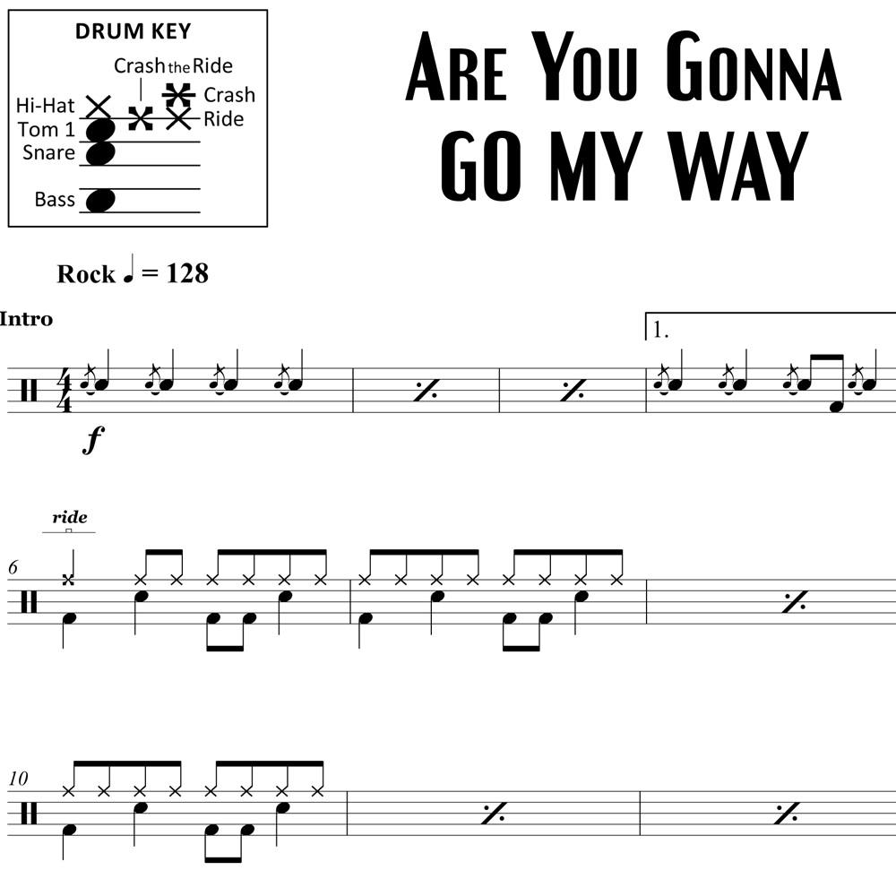 Are You Gonna Go My Way - Lenny Kravitz - Drum Sheet Music