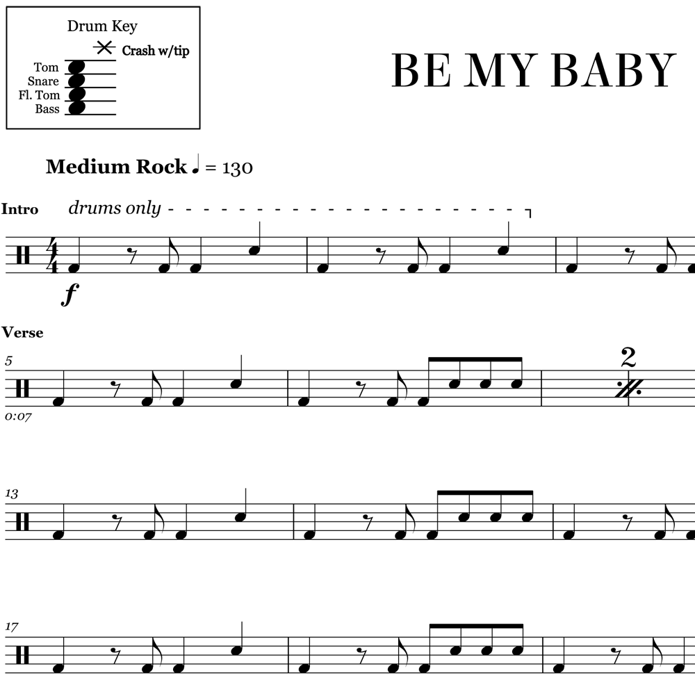 Be My Baby - The Ronettes - Drum Sheet Music