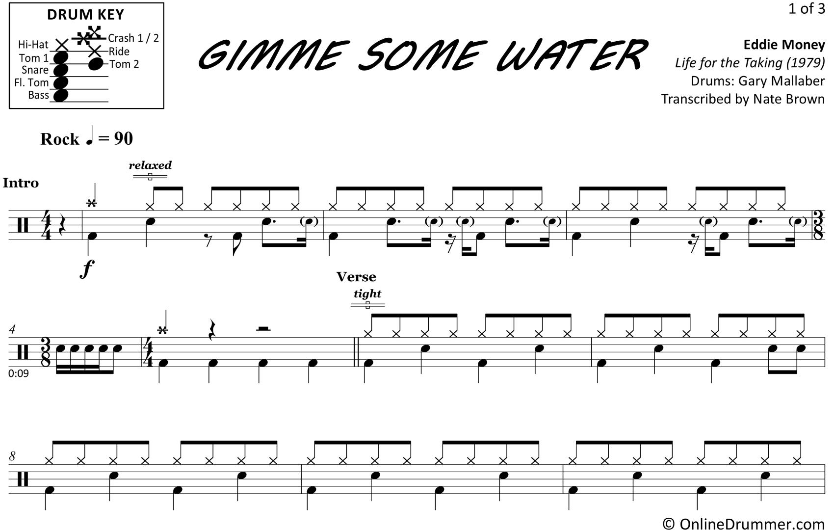 Gimme Some Water - Eddie Money - Drum Sheet Music