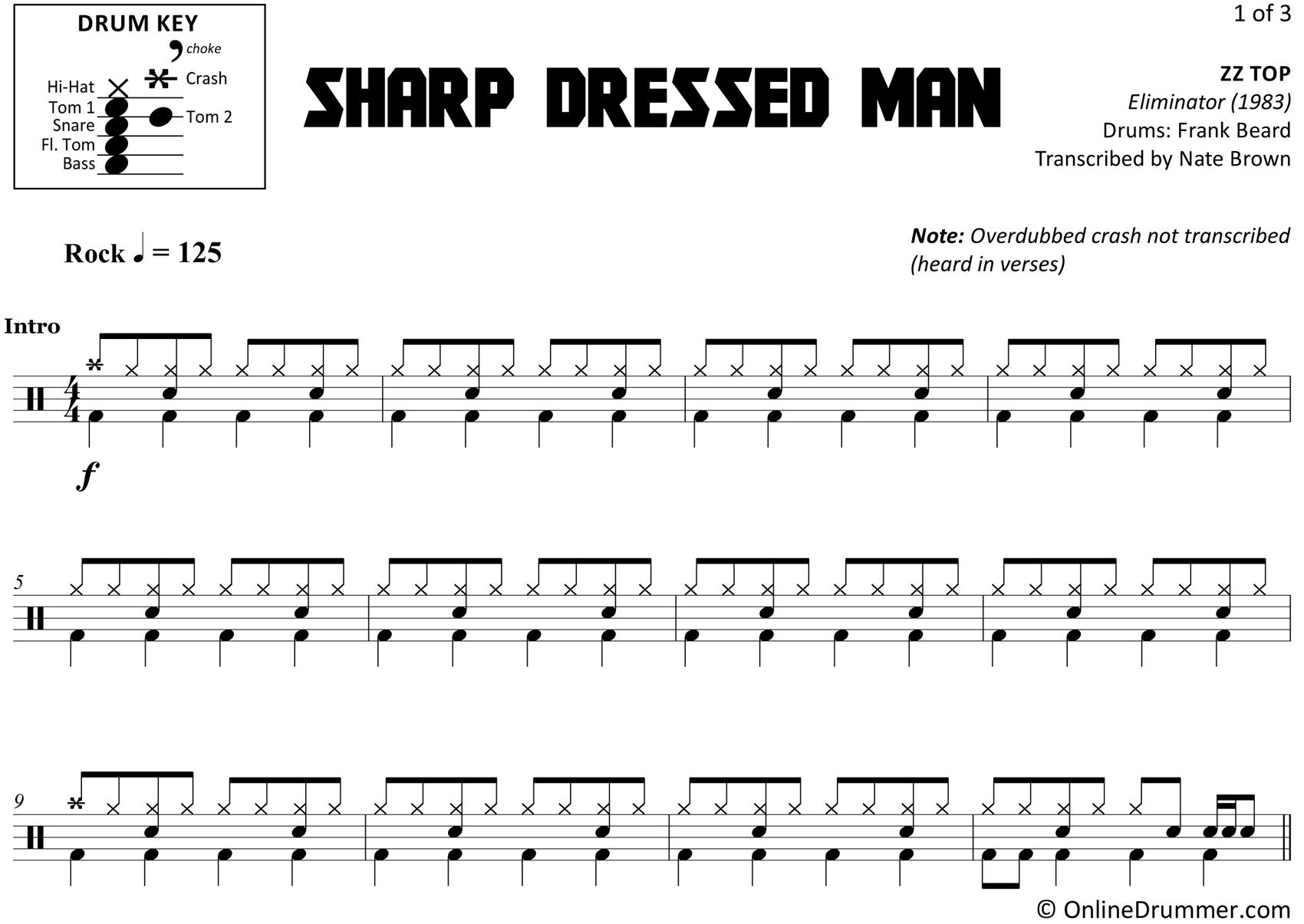 Sharp Dressed Man - ZZ Top - Drum Sheet Music