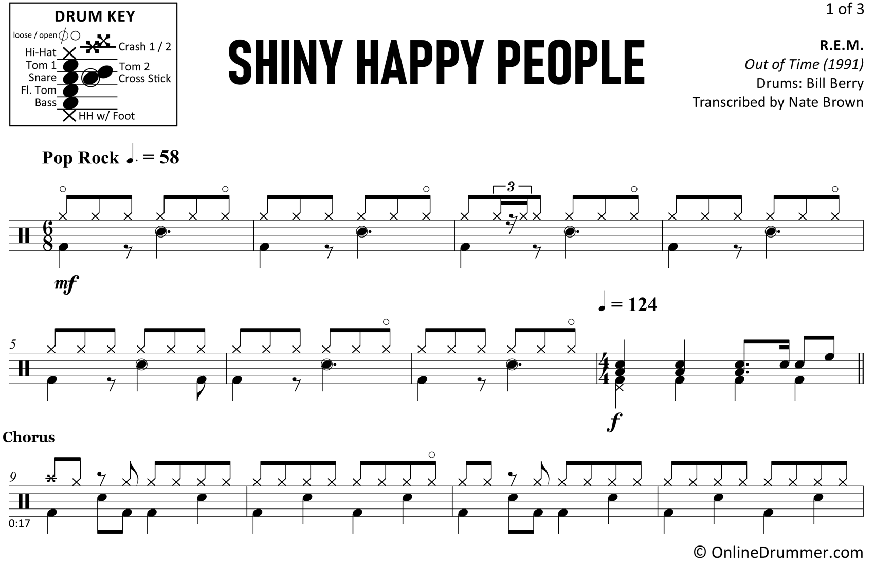 Shiny Happy People - R.E.M. - Drum Sheet Music
