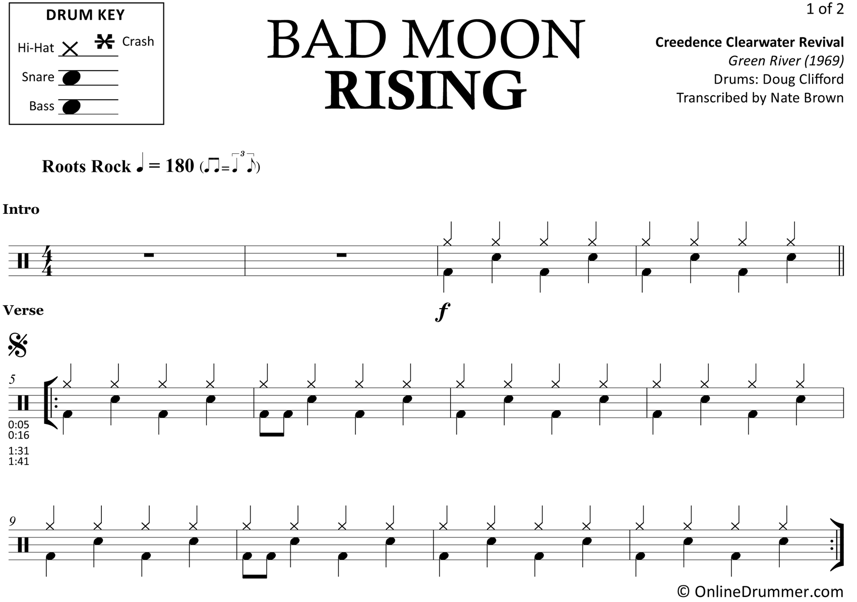Bad Moon Rising - Creedence Clearwater Revival - Drum Sheet Music