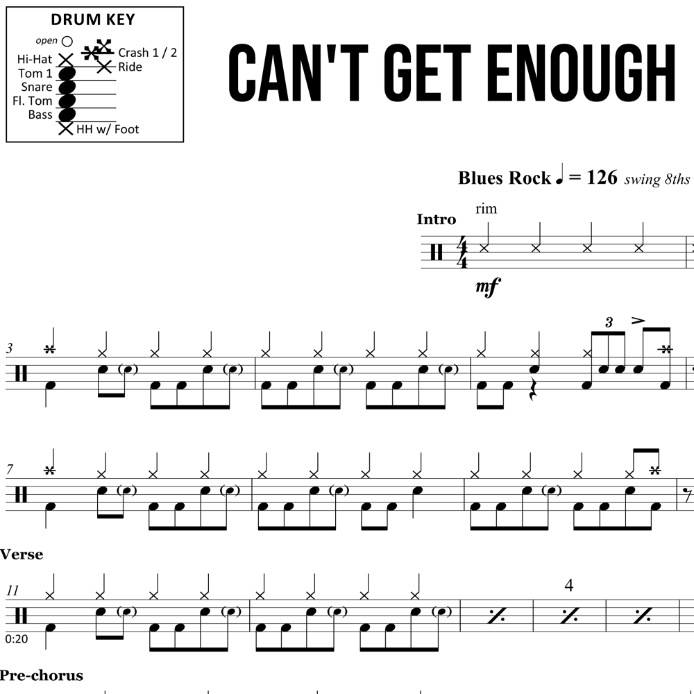 Can't Get Enough - Bad Company - Drum Sheet Music