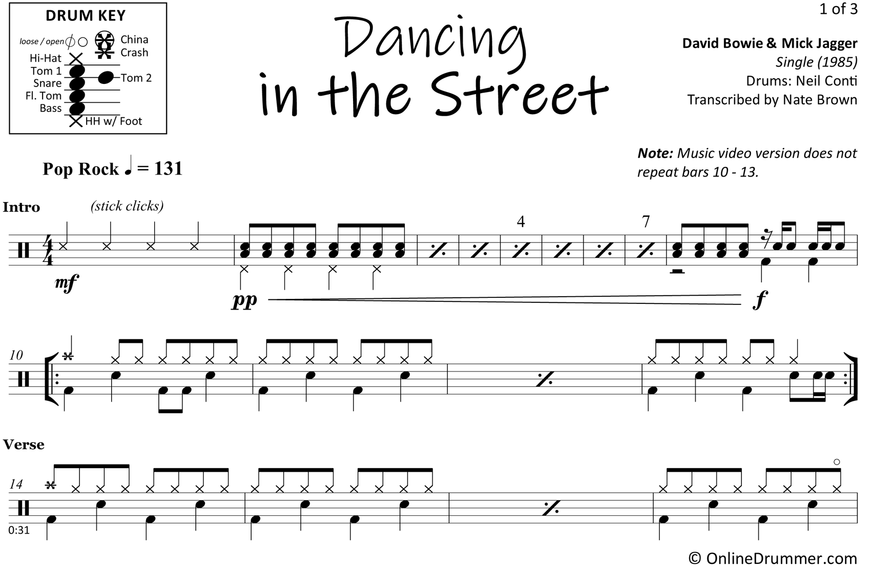 Dancing in the Street - David Bowie & Mick Jagger - Drum Sheet Music
