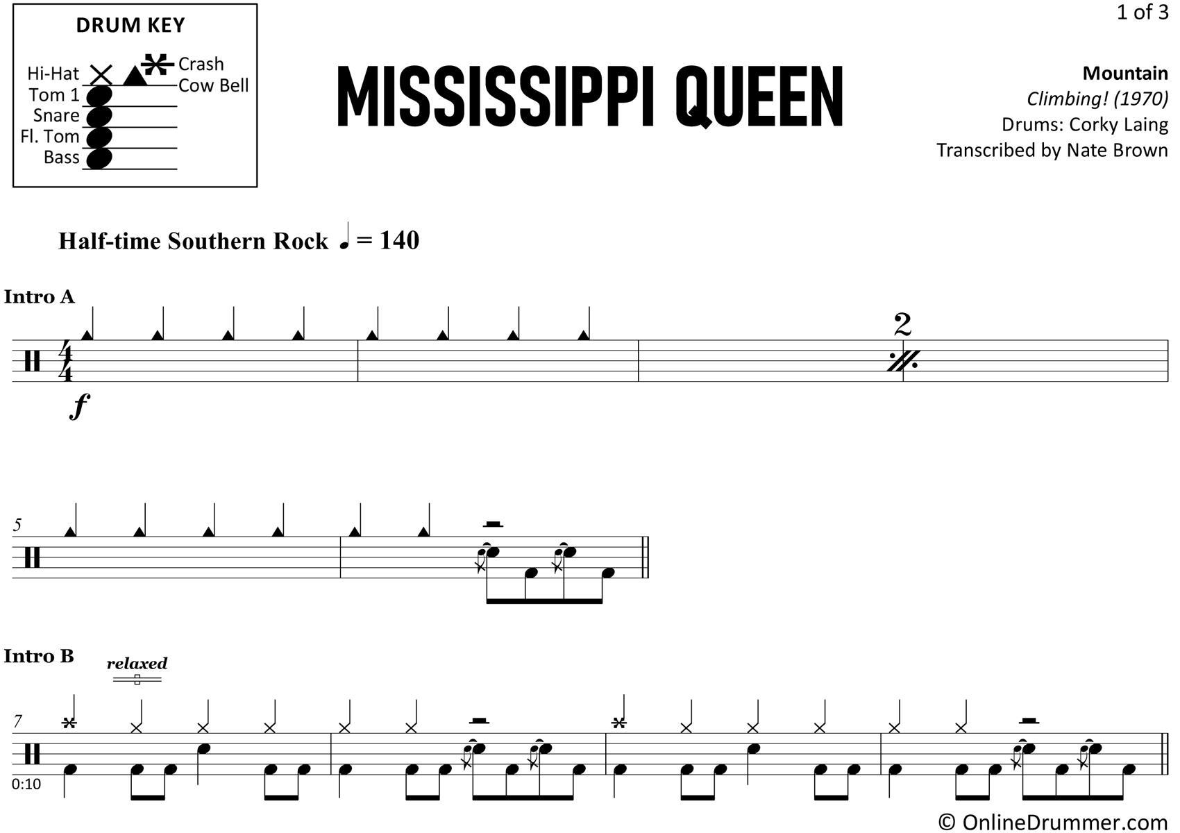 Mississippi Queen - Mountain - Drum Sheet Music