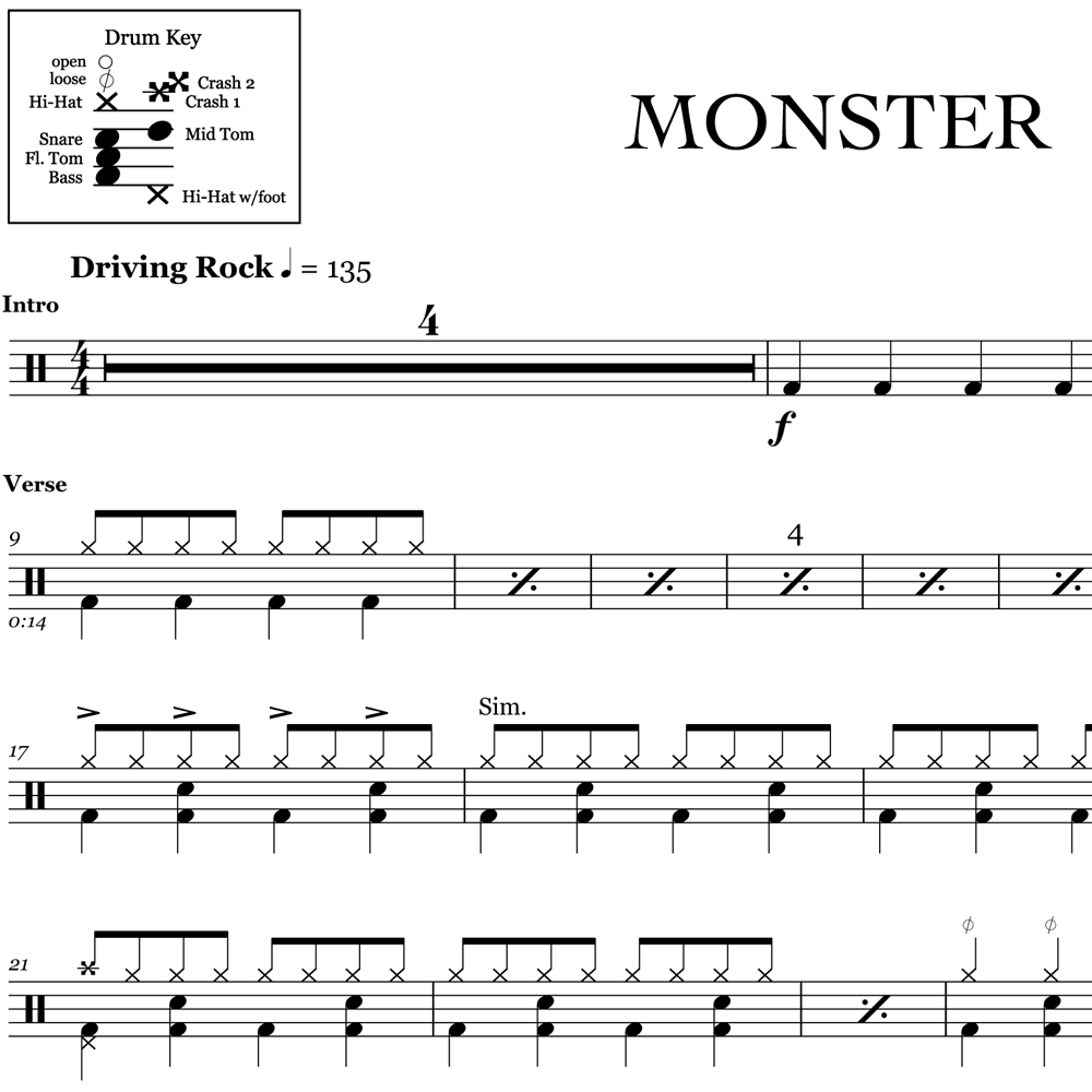 Monster - Skillet - Drum Sheet Music