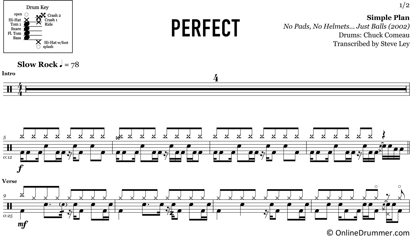 Perfect - Simple Plan - Drum Sheet Music