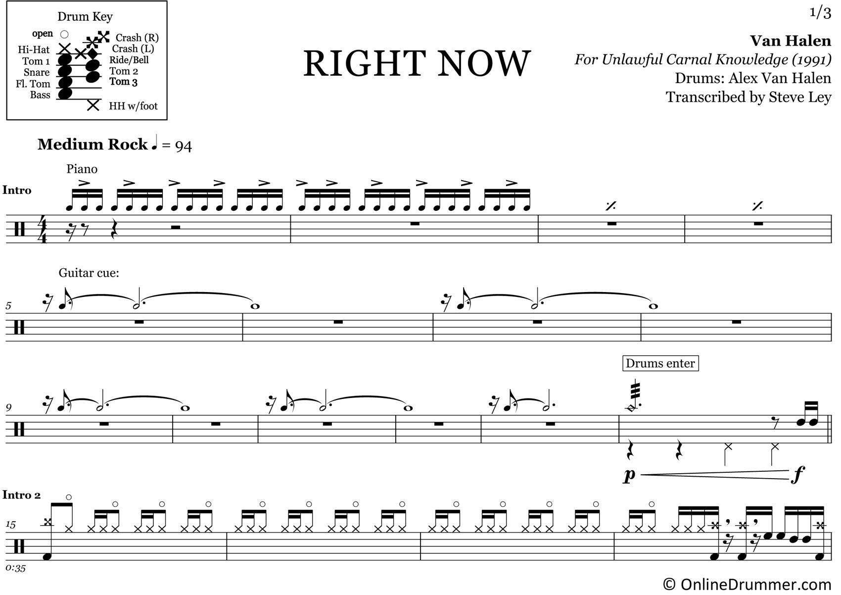 Right Now - Van Halen - Drum Sheet Music