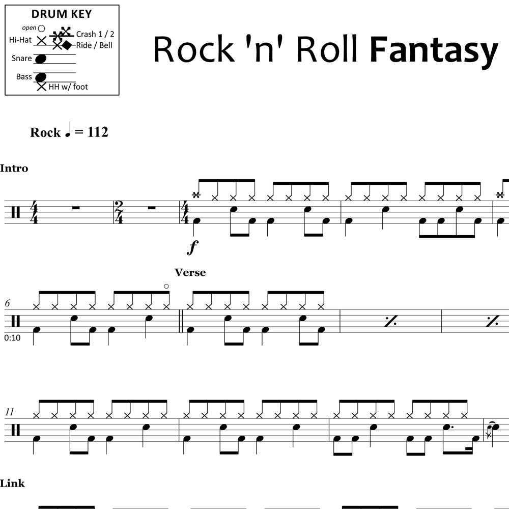 Rock 'n' Roll Fantasy - Bad Company - Drum Sheet Music