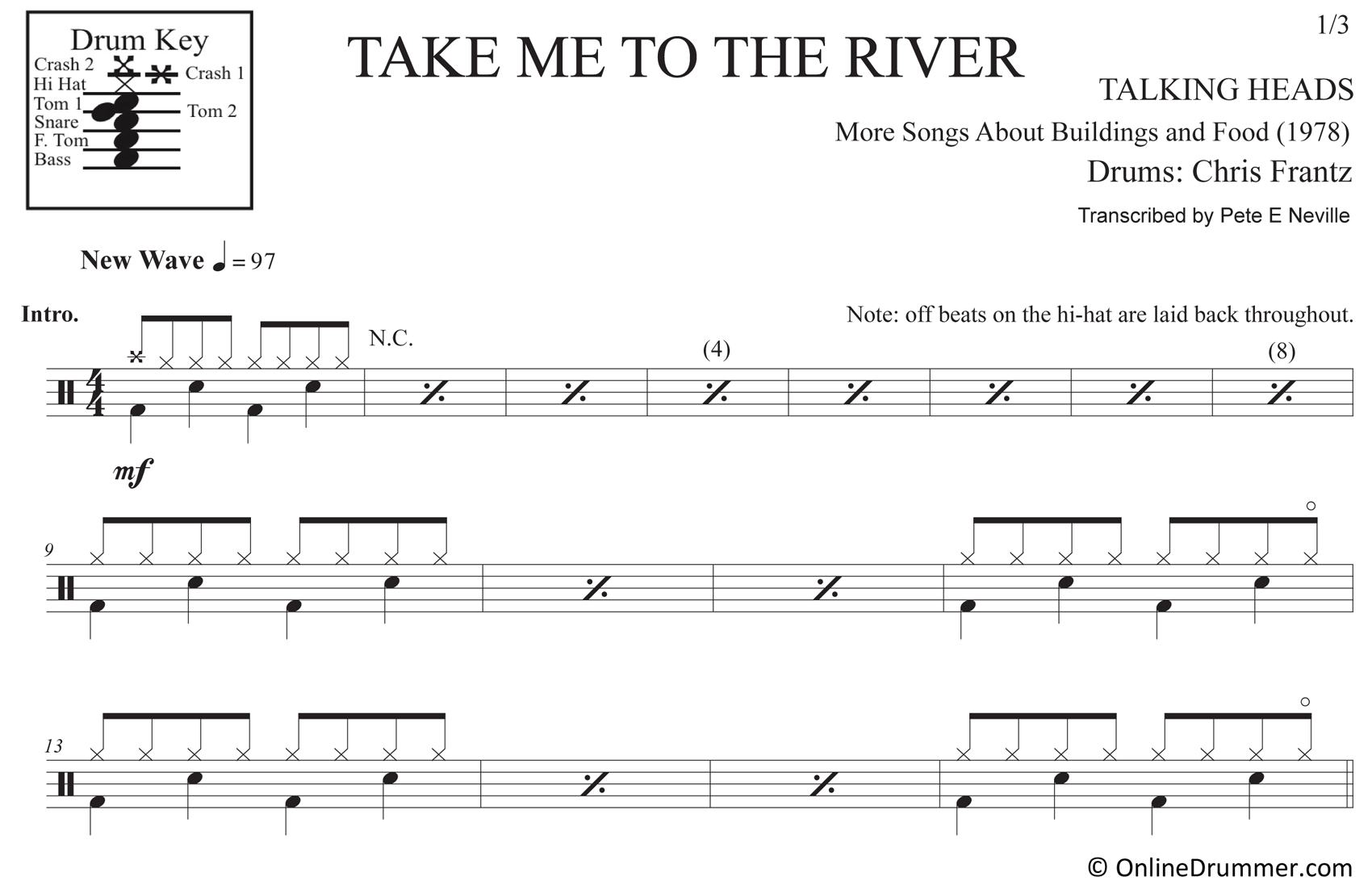 Take Me to the River - Talking Heads - Drum Sheet Music