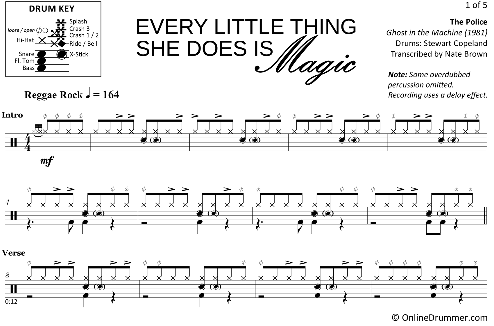 Every Little Thing She Does is Magic - The Police - Drum Sheet Music