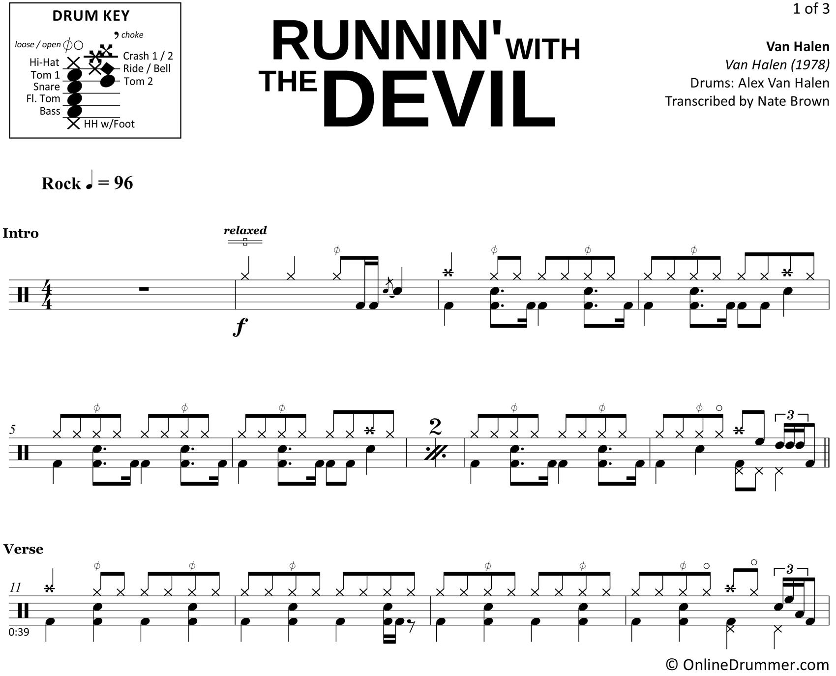Runnin' with the Devil - Van Halen - Drum Sheet Music