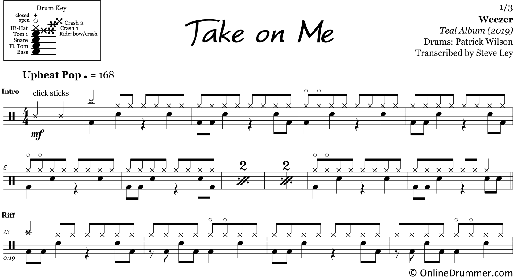 Take on Me - Weezer - Drum Sheet Music