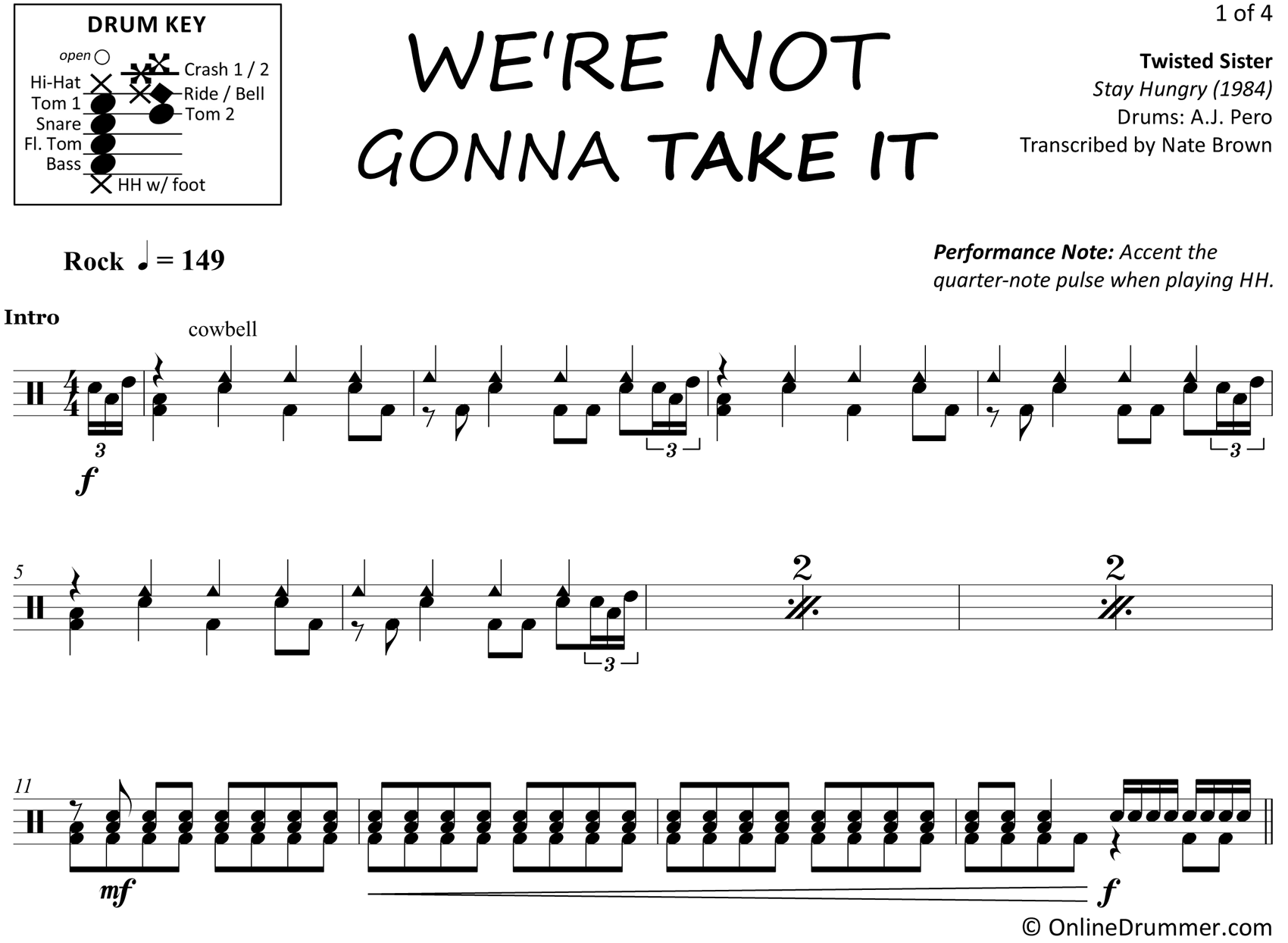We're Not Gonna Take It - Twisted Sister - Drum Sheet Music