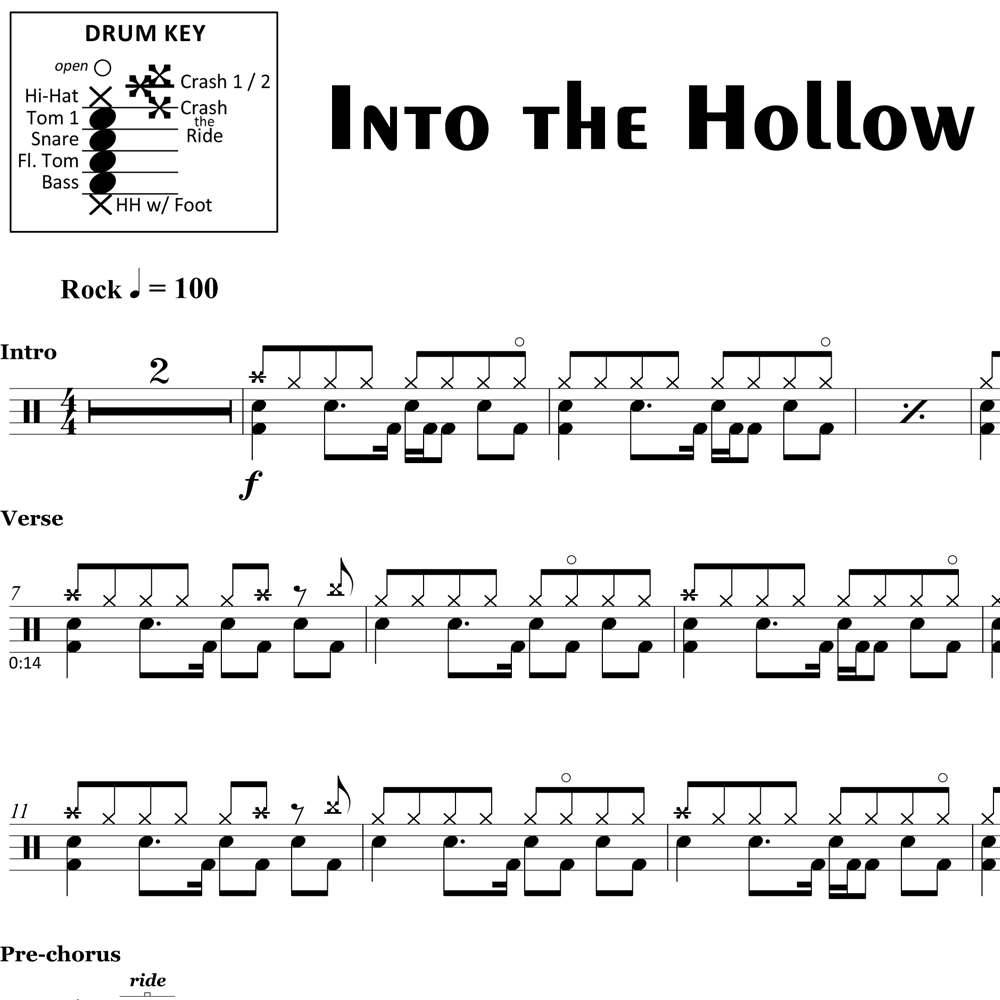 Into the Hollow - Queens of the Stone Age - Drum Sheet Music