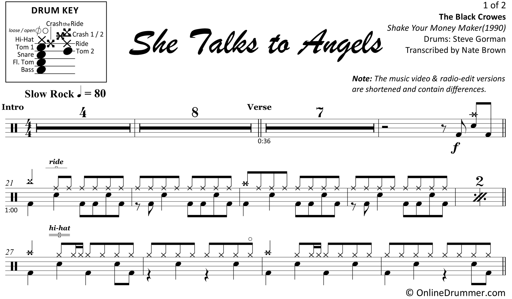 She Talks to Angels - The Black Crowes - Drum Sheet Music