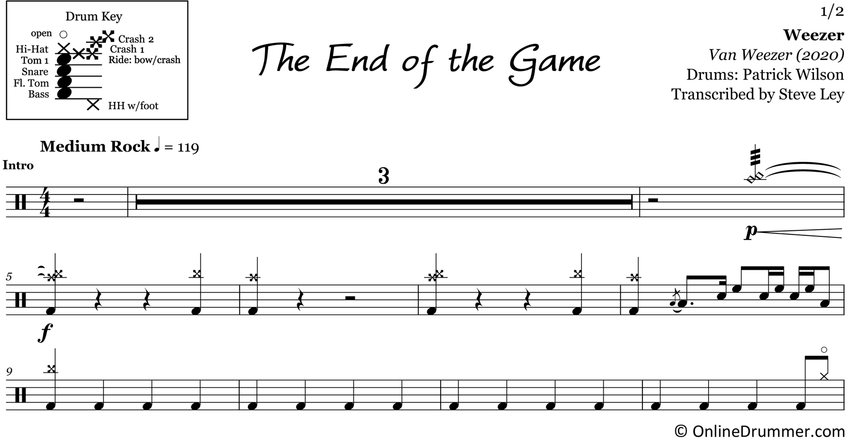 The End of the Game - Weezer - Drum Sheet Music