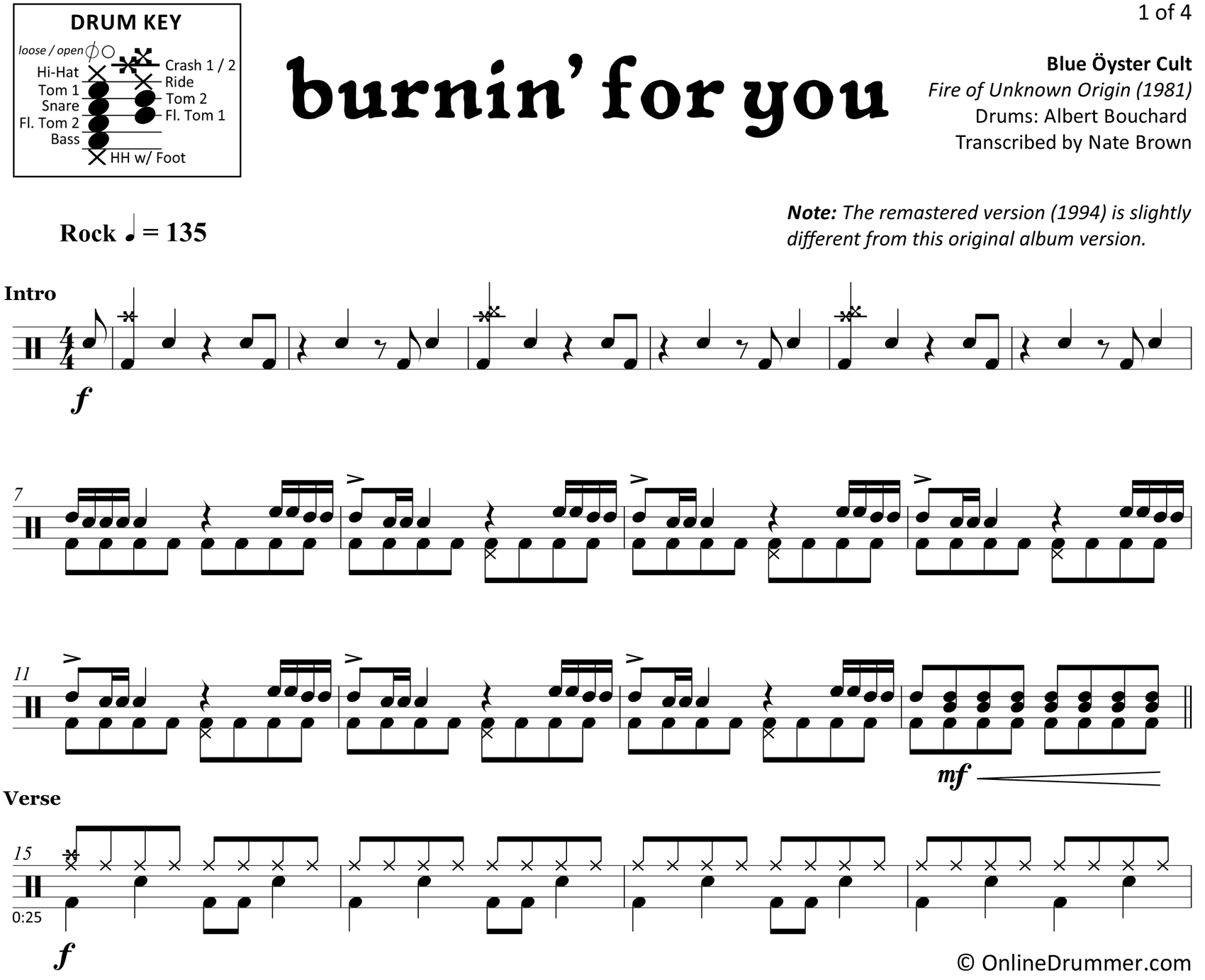 Burnin' for You - Blue Öyster Cult - Drum Sheet Music
