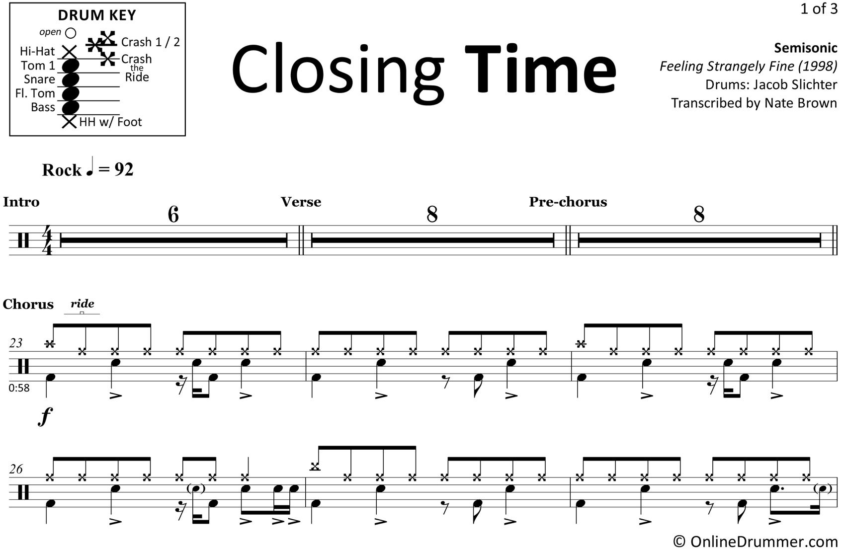 Closing Time - Semisonic - Drum Sheet Music