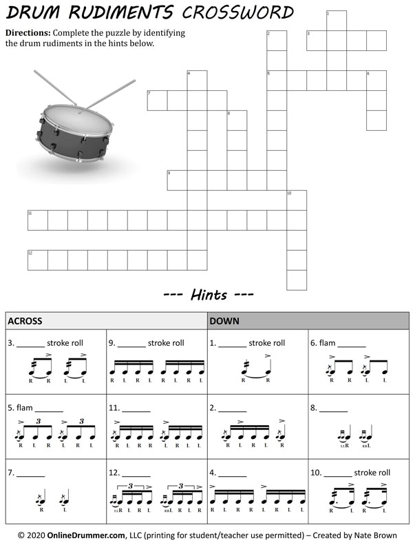Drum Rudiments Crossword Puzzle