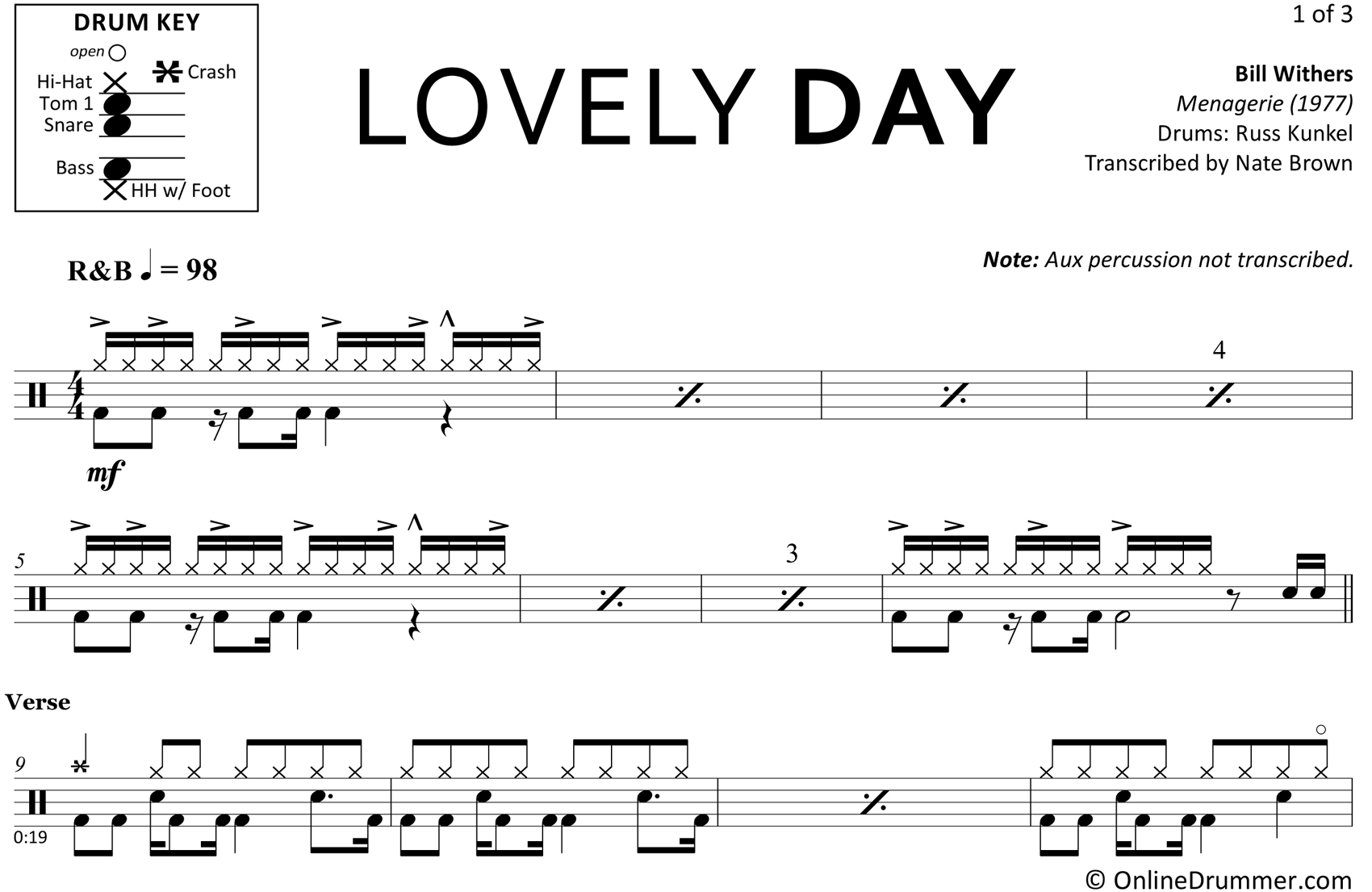 Lovely Day - Bill Withers - Drum Sheet Music