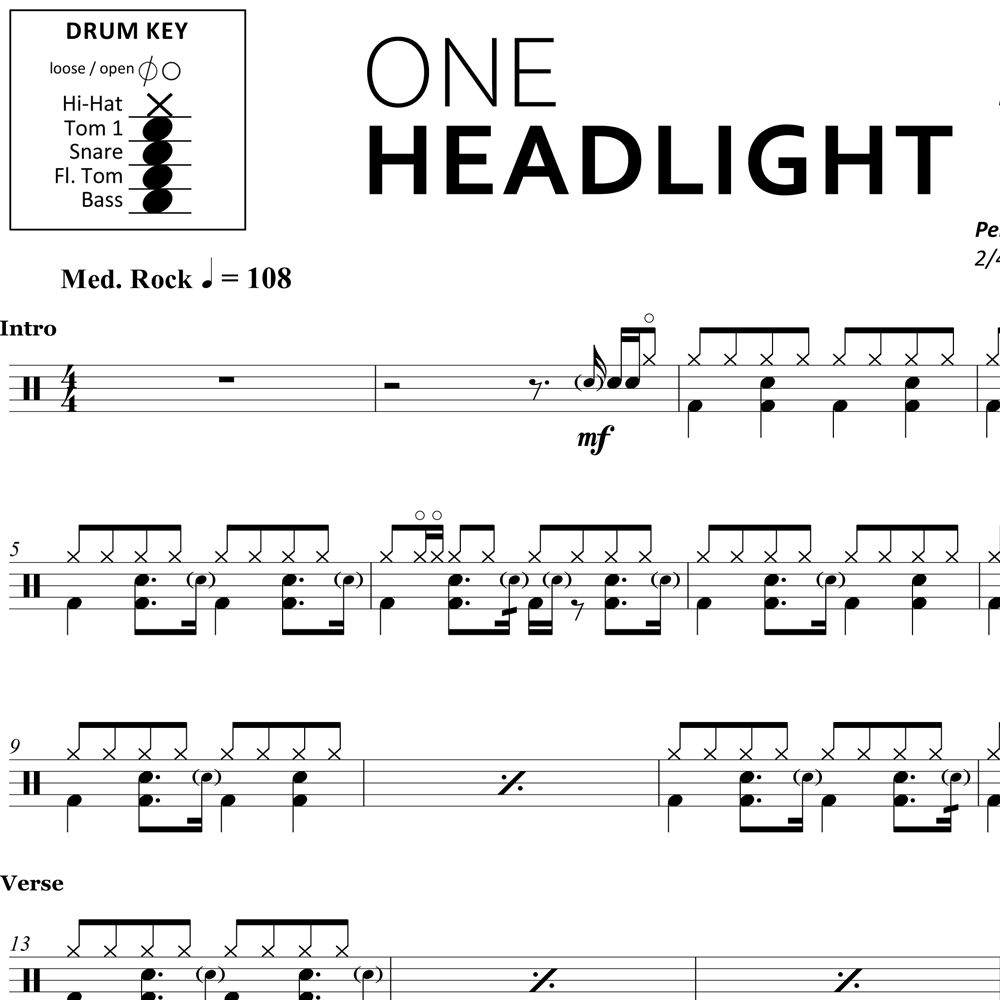 One Headlight - The Wallflowers - Drum Sheet Music