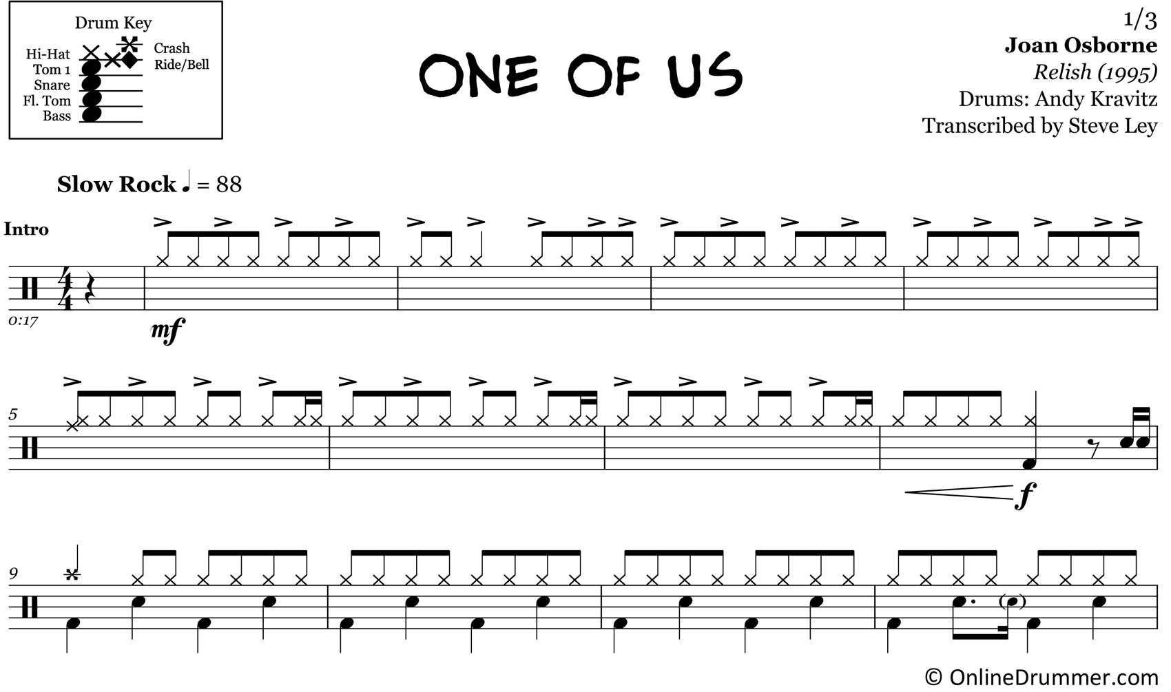 One of Us - Joan Osborne - Drum Sheet Music