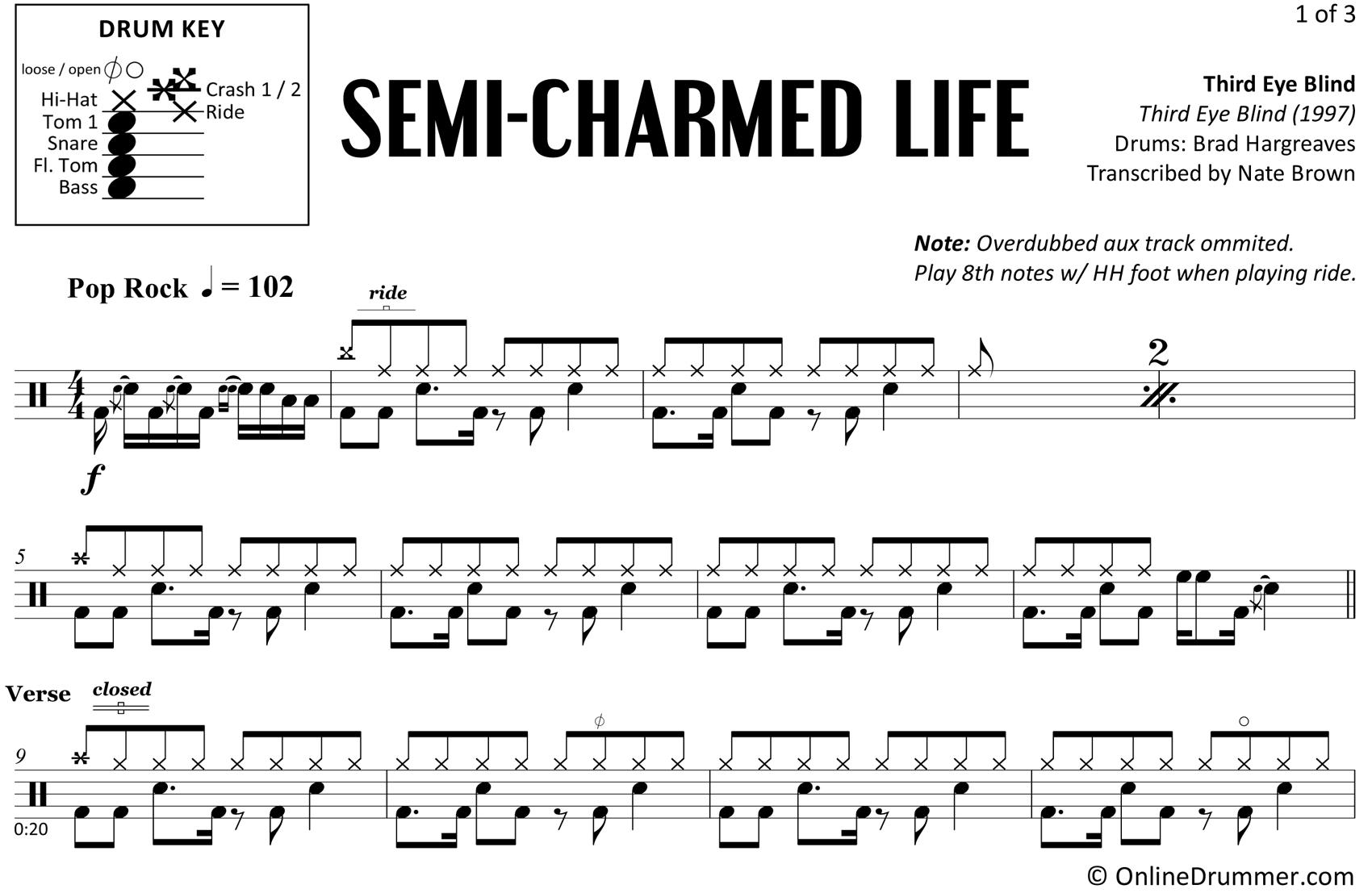 Semi-Charmed Life - Third Eye Blind - Drum Sheet Music