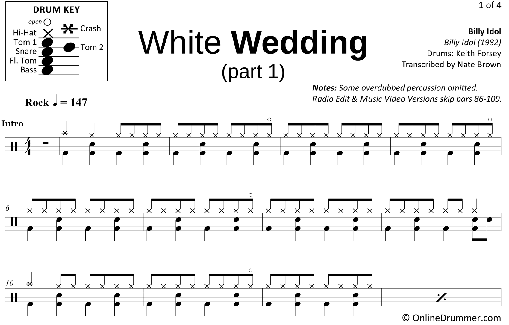 White Wedding (Part 1) - Billy Idol - Drum Sheet Music