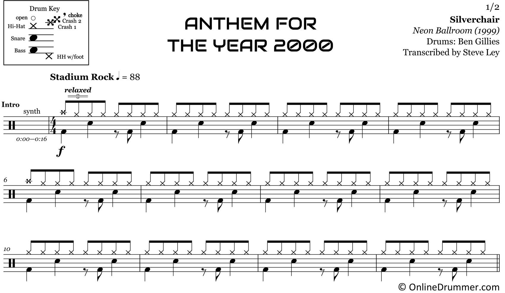 Anthem for the Year 2000 - Silverchair - Drum Sheet Music