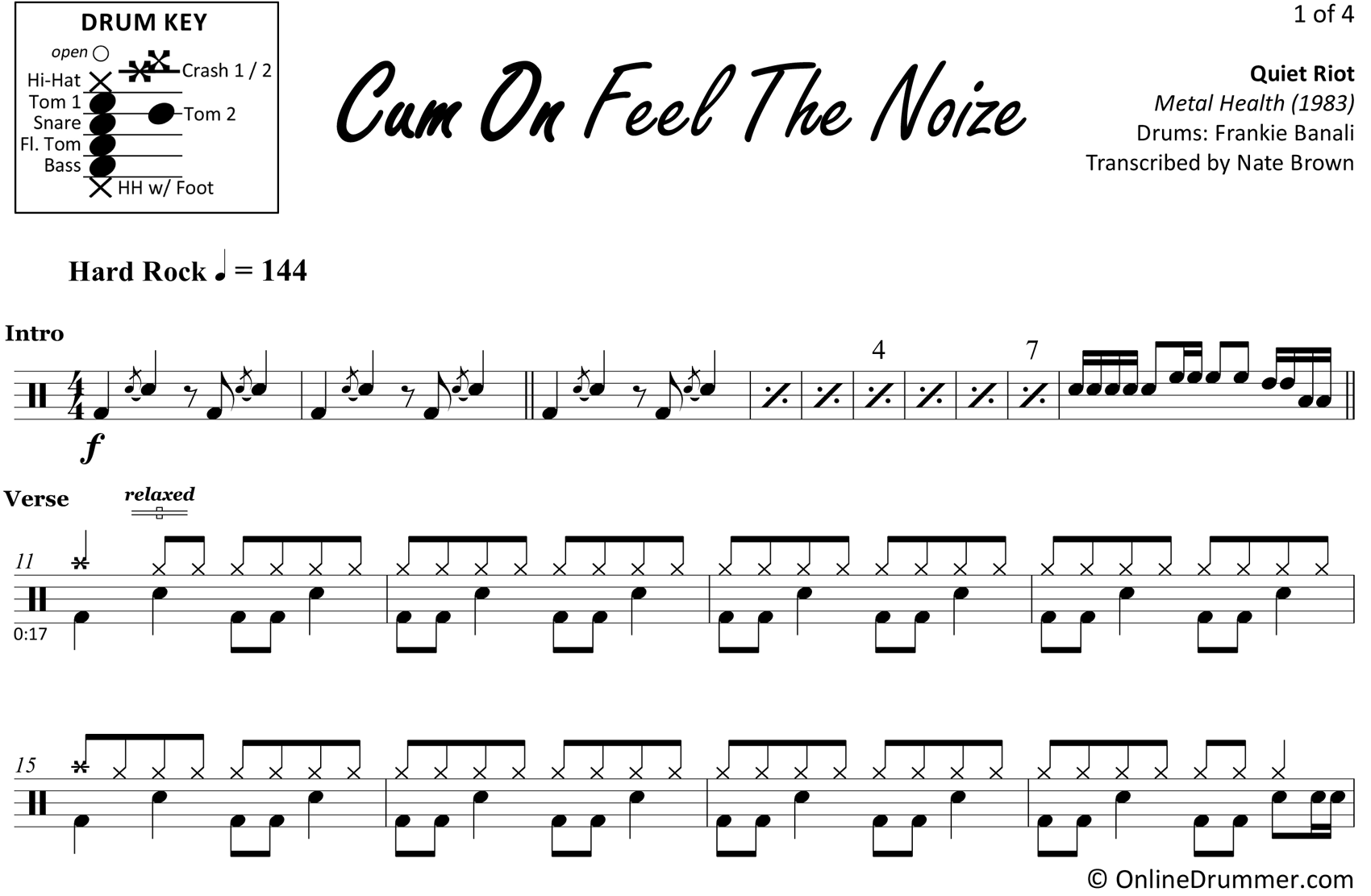 Cum On Feel The Noize - Quiet Riot - Drum Sheet Music