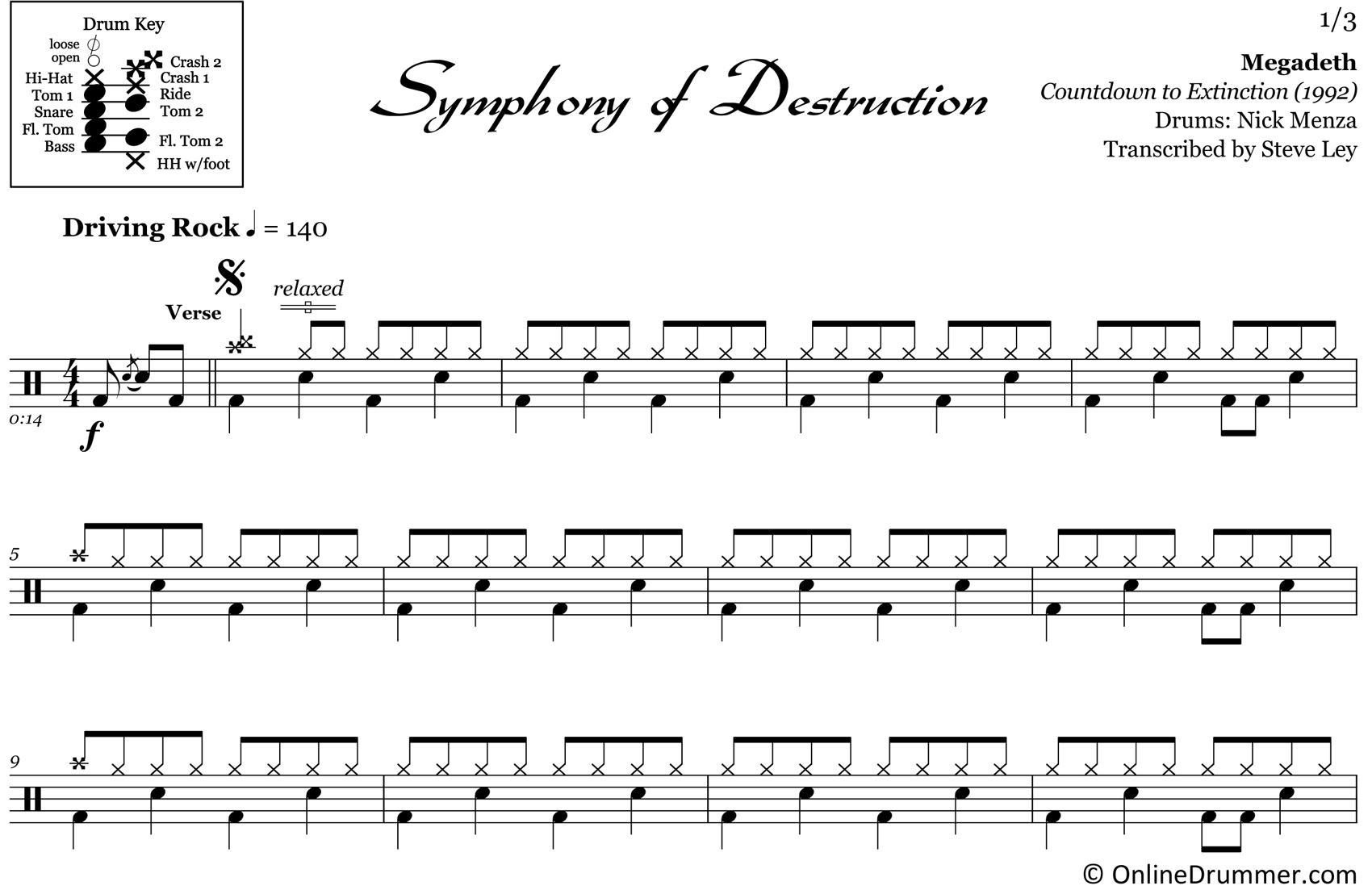 Symphony of Destruction - Megadeth - Drum Sheet Music