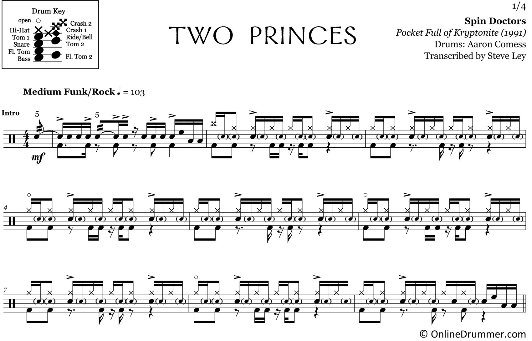 Two Princes - Spin Doctors - Drum Sheet Music