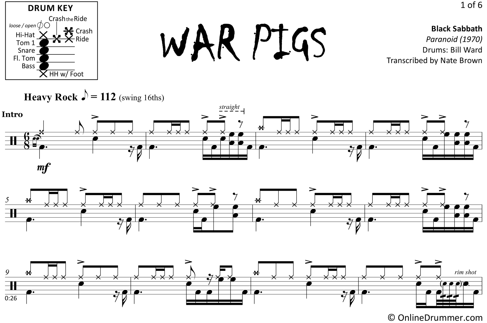 War Pigs - Black Sabbath - Drum Sheet Music