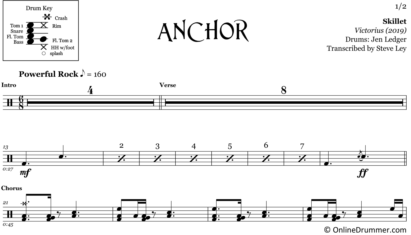 Anchor - Skillet - Drum Sheet Music