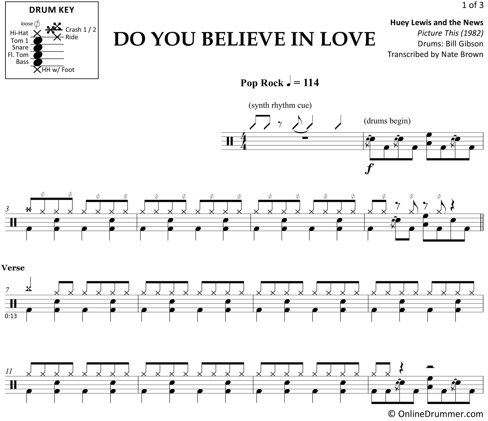 Do You Believe in Love - Huey Lewis and the News - Drum Sheet Music