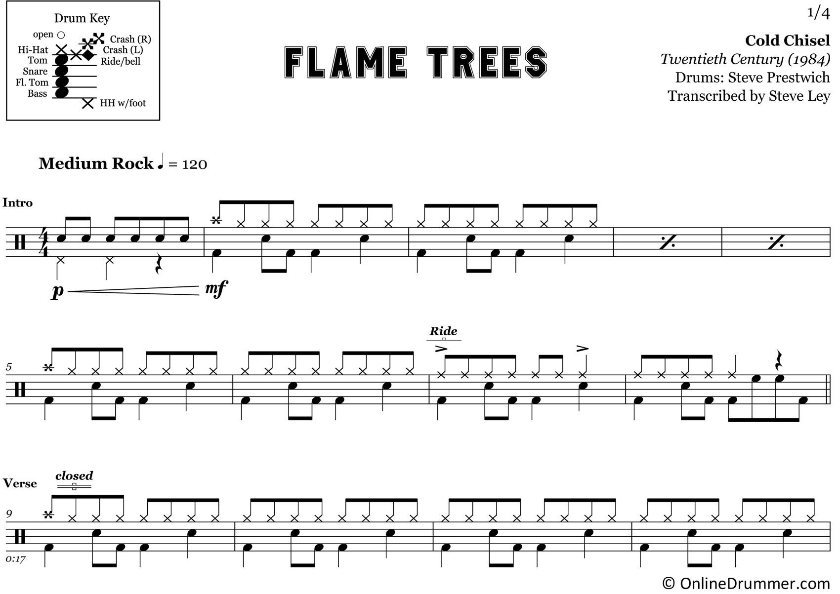 Flame Trees - Cold Chisel - Drum Sheet Music