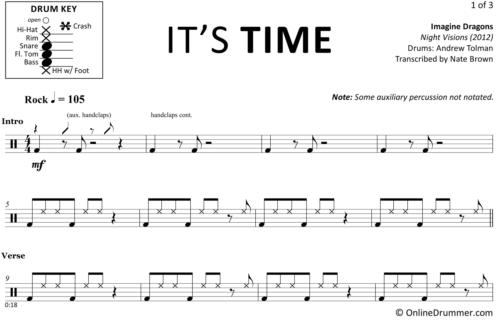 It's Time - Imagine Dragons - Drum Sheet Music